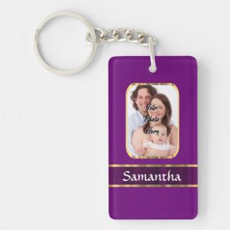 Foto personalizada púrpura llavero rectangular acrílico a doble cara
