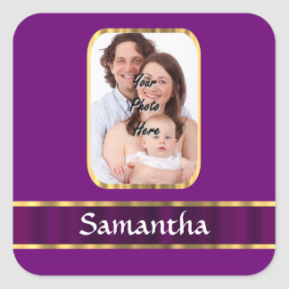 Foto personalizada púrpura pegatina cuadrada