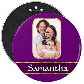 Foto personalizada púrpura pin redondo de 6 pulgadas