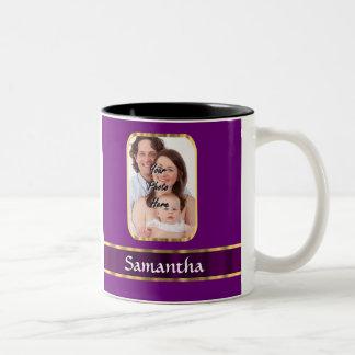 Foto personalizada púrpura taza de dos tonos