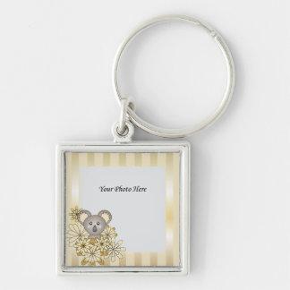 Foto personalizada rayada oro lindo de la koala llavero cuadrado plateado