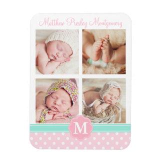 Foto personalizada recuerdo rosado del nacimiento imanes