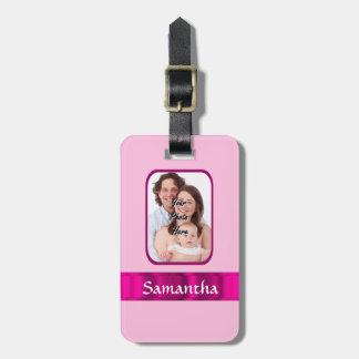Foto personalizada rosa etiquetas de maletas
