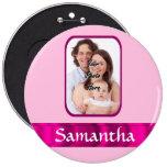 Foto personalizada rosa pin redondo 15 cm