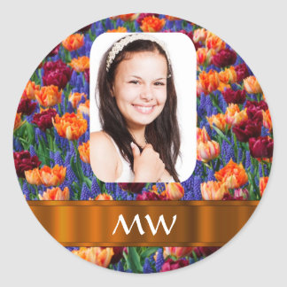 Foto personalizada tulipán anaranjado pegatina redonda