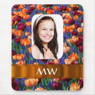 Foto personalizada tulipán anaranjado tapetes de ratón