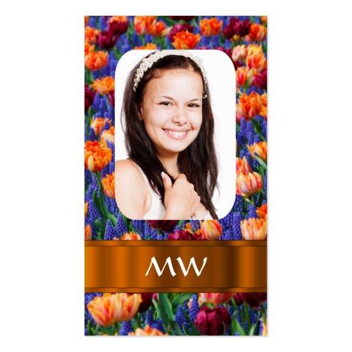 Foto personalizada tulipán anaranjado tarjetas de visita