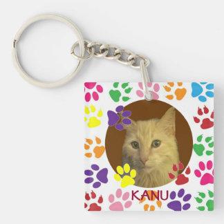 Foto personalizada y nombre del mascota de doble c llaveros