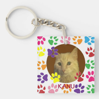 Foto personalizada y nombre del mascota de doble c llavero cuadrado acrílico a doble cara