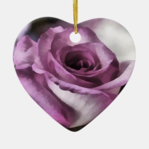 Foto pintada Digital subió - ornamento del corazón Adorno De Cerámica En Forma De Corazón