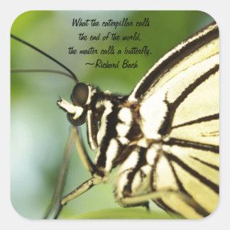 Foto principal y cita de la mariposa pegatina cuadrada