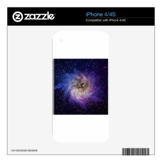 Foto púrpura de la nebulosa de la firma del mundo iPhone 4S skin