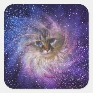 Foto púrpura de la nebulosa de la firma del mundo pegatina cuadrada