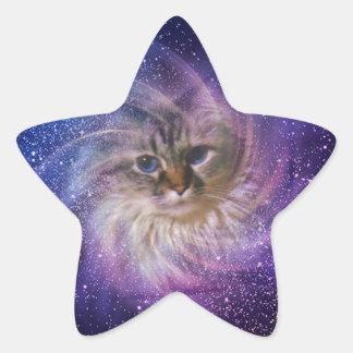 Foto púrpura de la nebulosa de la firma del mundo pegatina en forma de estrella
