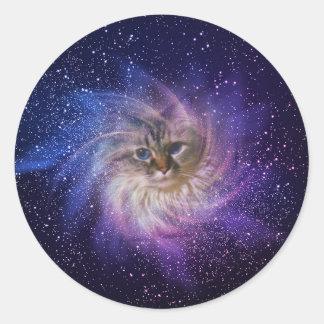 Foto púrpura de la nebulosa de la firma del mundo pegatina redonda
