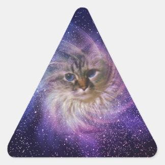 Foto púrpura de la nebulosa de la firma del mundo pegatina triangular