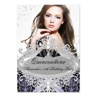 """Foto púrpura elegante de la joya del diamante del invitación 5"""" x 7"""""""