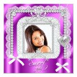 Foto púrpura rosada de la perla del cordón invitación