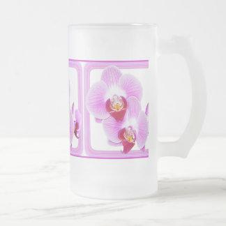 Foto radiante del primer de la orquídea con el jarra de cerveza esmerilada
