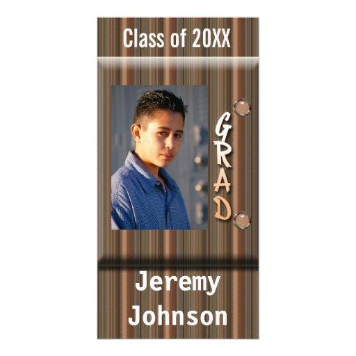 foto rayada del graduado del color de madera tarjeta personal con foto
