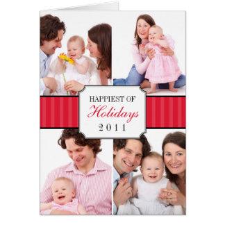 Foto rayada roja del navidad de la banda del tarjeta de felicitación