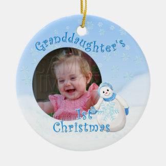 Foto redonda O del 1r muñeco de nieve del navidad  Ornamentos De Navidad