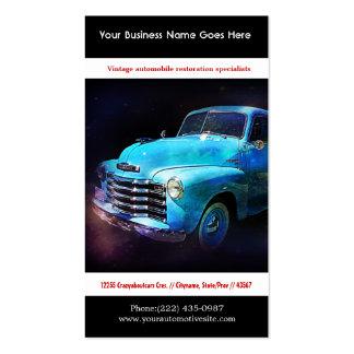 Foto restaurada azul brillante del auto del vintag tarjetas de visita