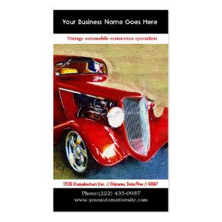 Foto restaurada rojo brillante del auto del vintag tarjetas de visita