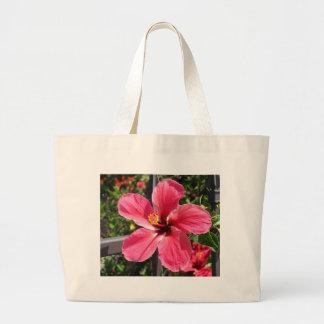 Foto roja brillante del hibisco bolsas lienzo