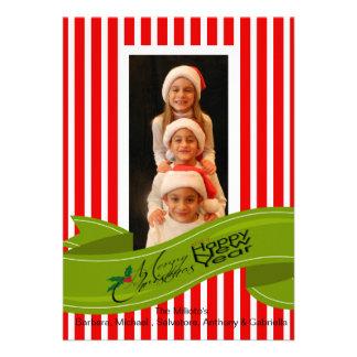 Foto roja ChristmasCard del navidad del bastón de
