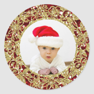 Foto roja de la Brillo-Mirada del oro del navidad Pegatina Redonda