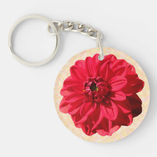 Foto roja de la dalia de la flor llavero redondo acrílico a doble cara