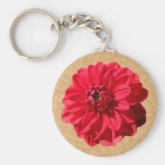 Foto roja de la dalia de la flor llavero redondo tipo pin