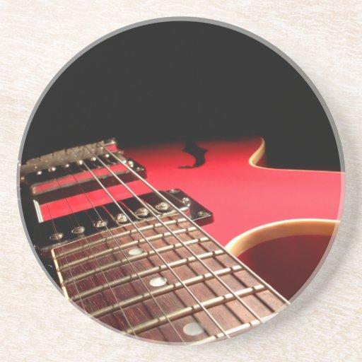 Foto roja de la guitarra eléctrica - PERSONALICE Posavasos De Arenisca