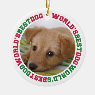 Foto roja del personalizado del mascota de la pata adorno navideño redondo de cerámica