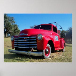 Foto roja del poster de la camioneta pickup del pa