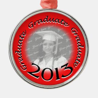 Foto roja graduada 2013 adorno navideño redondo de metal