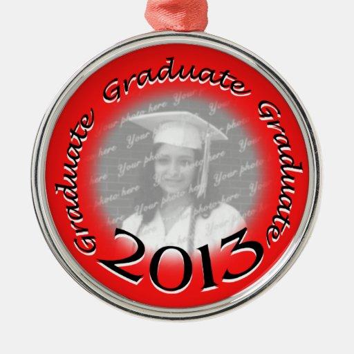 Foto roja graduada 2013 adorno redondo plateado