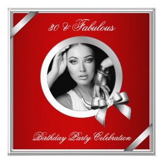 Foto roja real de la plata del diamante 30 fabulos invitación