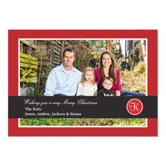 Foto roja y negra de las Felices Navidad del marco Invitación 12,7 X 17,8 Cm