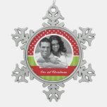 Foto roja y verde del personalizado del navidad adornos