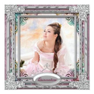 """Foto rosada coralina azul Quinceanera del trullo Invitación 5.25"""" X 5.25"""""""