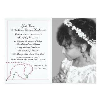 Foto rosada de la comunión del rosario invitación 12,7 x 17,8 cm