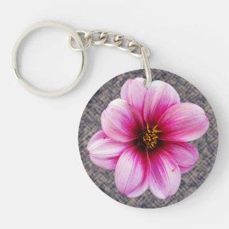 Foto rosada de la dalia de la flor llavero redondo acrílico a doble cara