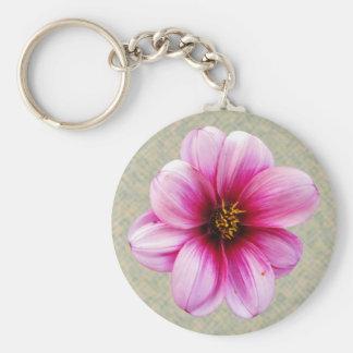 Foto rosada de la dalia de la flor llavero redondo tipo pin