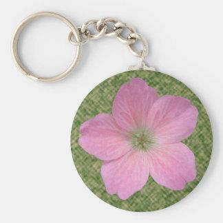 Foto rosada del geranio de la flor llavero redondo tipo pin