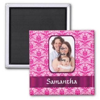 Foto rosada del personalizado del damasco imán cuadrado