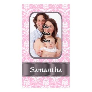 Foto rosada del personalizado del damasco tarjetas de visita