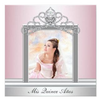 """Foto rosada Quinceanera del rosa de la tiara Invitación 5.25"""" X 5.25"""""""