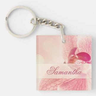 Foto rosada soñadora personalizada llavero de la o
